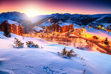 Amazing Sunset And Winter Landscape,Alpe D'Huez,France,Europe
