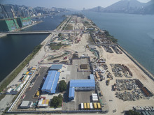 Aerial View Of Old Hong Kong Kai Tak Airport Runway Become A Construction Site At 12 Decemeber 2016