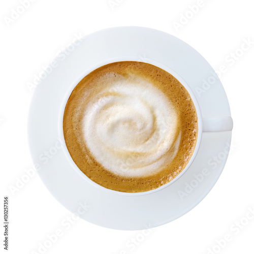 Foto auf AluDibond Kaffee Top view of hot coffee latte cappucino cup with saucer isolated