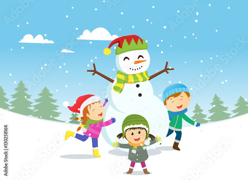 happy kids playing with sno...