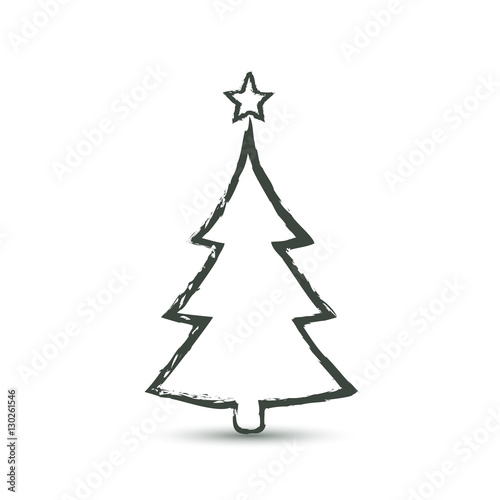 Christmas trees icon in grunge style, vector simple design