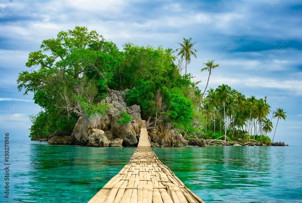 Fototapeta Bamboo hanging bridge over sea to tropical island