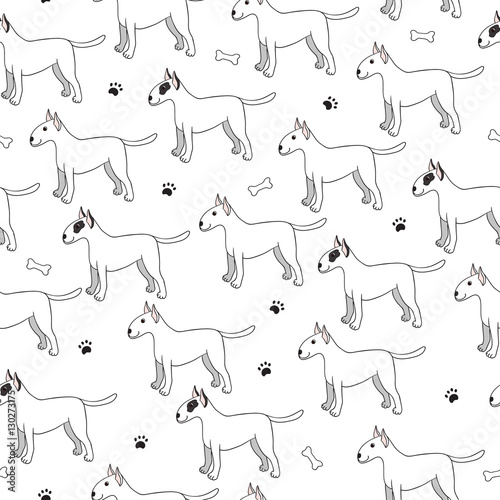 Stampa su Tela Unusual seamless pattern with cute cartoon dogs. Breed bullterie