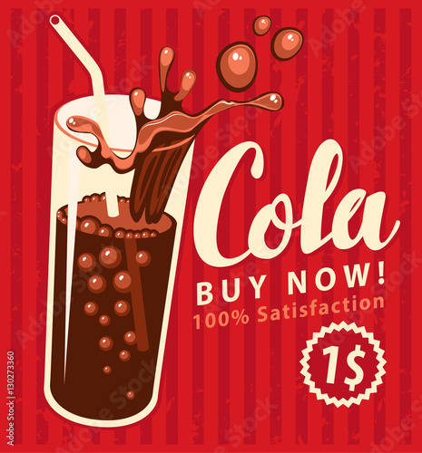Photo vector banner with cola drink glass in retro style