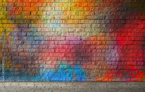 Foto auf Gartenposter Graffiti Colorful brick wall