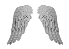 White Plaster Wings On Isolated White Background