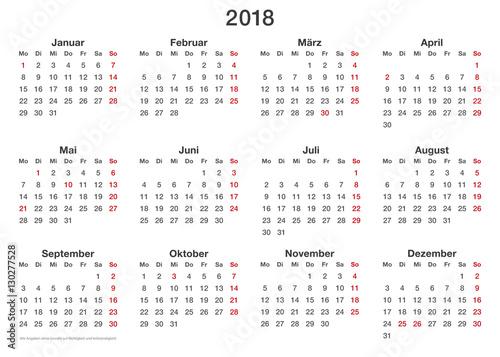 Kalendervorlage 2018 Einfache In Querformat Auch Für Die