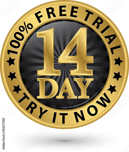 14 day free trial try it now golden label, vector illustration Fototapeta