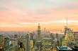 Night view of New York Manhattan during sunset