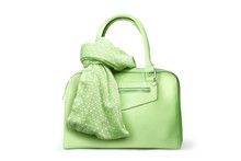Stylish Women's Accessories. Beautiful Set Of Women's Handbag And Scarf On A White Background. Green, Springgreen, Yellow Green, Polka Dots