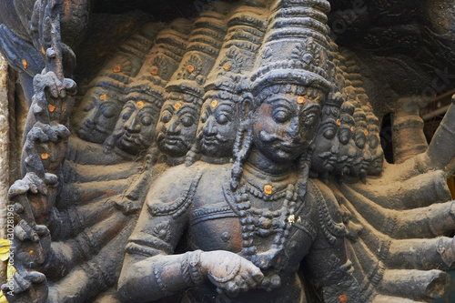 Sculpture at the entrance of the Puthu Mandapa market, Madurai, Tamil Nadu, Indi Poster