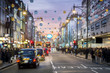 canvas print picture - London Oxford Street, Christmas Day