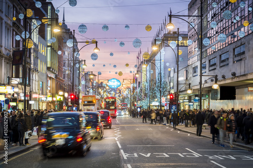 Canvas Prints City building London Oxford Street, Christmas Day