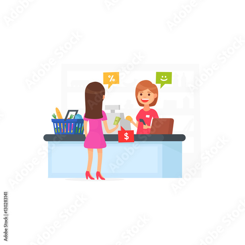 Cute Supermarket Store Girl At The Cash Register Supermarket Cartoon Style Buy This Stock Vector And Explore Similar Vectors At Adobe Stock Adobe Stock