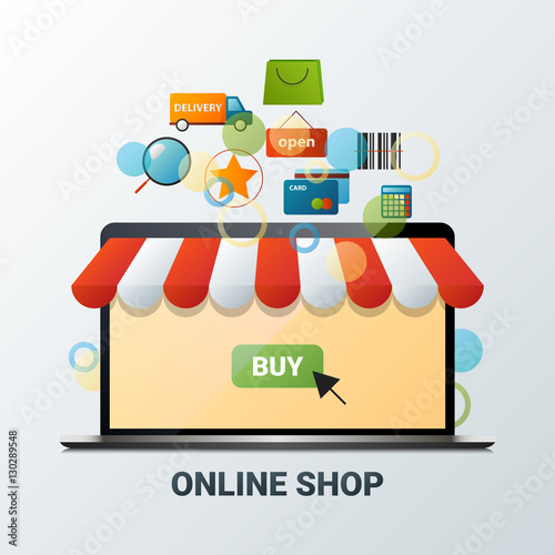 Vector illustration of laptop with online shop icons  Internet
