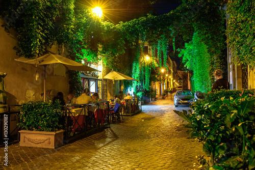 Night view of cozy street in Rome, Italy © Ekaterina Belova