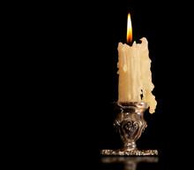 Burning Old Candle Vintage Sil...