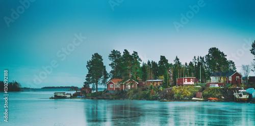 Fotografía  Fisherman village in Sweden at winter after sunset - winter seasonal scandinavia