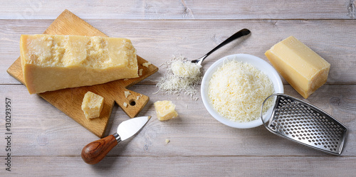 Parmesan pieces and grated