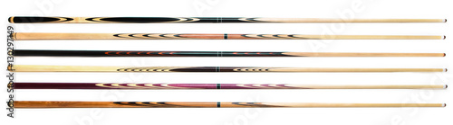 Fotografie, Tablou  billiard cue sticks on white background