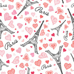 Tapeta Vector Eifel Tower Paris Seamless Repeat Pattern Bursting With St Valentines Day Pink Red Hearts Of Love. Perfect for travel themed postcards, greeting cards, wedding invitations.