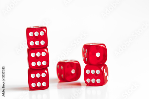 concept luck - dice in row on white background плакат
