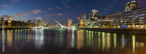 Puente de la Mujer (Bridge of the Woman) at dusk, Puerto Madero, Buenos Aires, Argentina, South America