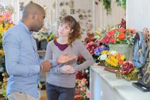 Person Choosing Funeral Flowers