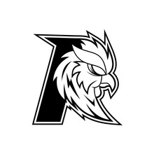Letter R Rooster Logo - Black And White