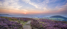 Sunset On The Cleveland Way Near Faceby, North Yorkshire Moors, Yorkshire