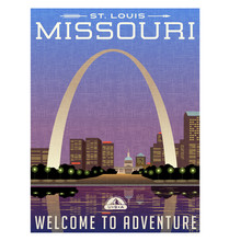 Missouri, United States Travel Poster Or Luggage Sticker. Scenic Illustration Of The Gateway Arch And Downtown St. Louis At Night.