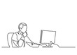 continuous line drawing of businessman working behind computer