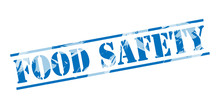 Food Safety Blue Stamp On White Background