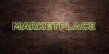 MARKETPLACE - Fluorescent Neon Tube Sign On Brickwork - Front View - 3D Rendered Royalty Free Stock Picture. Can Be Used For Online Banner Ads And Direct Mailers..