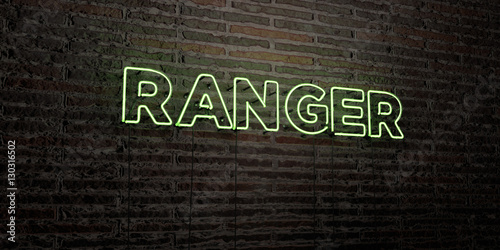 Fotografía  RANGER -Realistic Neon Sign on Brick Wall background - 3D rendered royalty free stock image
