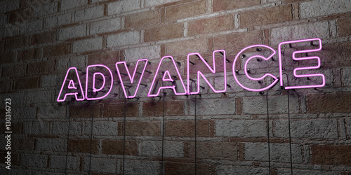 ADVANCE - Glowing Neon Sign on stonework wall - 3D rendered royalty free stock illustration Canvas Print
