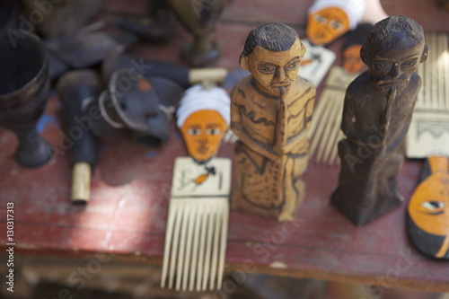 Carved souvenirs for sale, Chencha, Dorze, Ethiopia, Africa