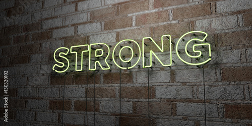 Fotografie, Obraz  STRONG - Glowing Neon Sign on stonework wall - 3D rendered royalty free stock illustration