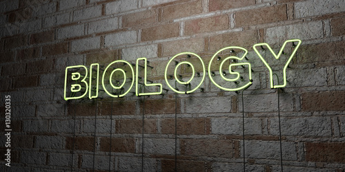Fotografie, Tablou  BIOLOGY - Glowing Neon Sign on stonework wall - 3D rendered royalty free stock illustration