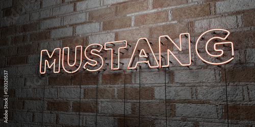 Photo  MUSTANG - Glowing Neon Sign on stonework wall - 3D rendered royalty free stock illustration