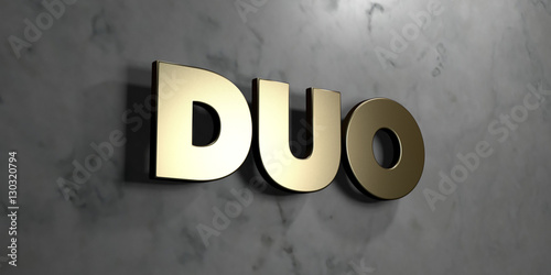 Photo  Duo - Gold sign mounted on glossy marble wall  - 3D rendered royalty free stock illustration