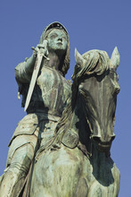 A Statue Of Joan Of Arc Riding Her Horse In Place Du Martroi, Orleans, Loiret, France