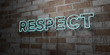 canvas print picture - RESPECT - Glowing Neon Sign on stonework wall - 3D rendered royalty free stock illustration.  Can be used for online banner ads and direct mailers..