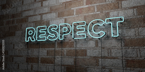 Fotografie, Obraz RESPECT - Glowing Neon Sign on stonework wall - 3D rendered royalty free stock illustration