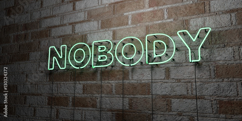 Foto  NOBODY - Glowing Neon Sign on stonework wall - 3D rendered royalty free stock illustration