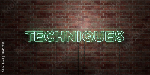 Fotografía  TECHNIQUES - fluorescent Neon tube Sign on brickwork - Front view - 3D rendered royalty free stock picture