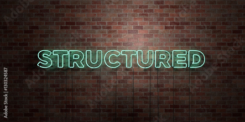 Fotografie, Obraz  STRUCTURED - fluorescent Neon tube Sign on brickwork - Front view - 3D rendered royalty free stock picture