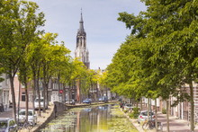 The Historic Centre Of Delft, The Nieuwe Kerk Church Can Be Seen Above The Rooftops, Delft, The Netherlands