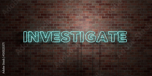 Foto  INVESTIGATE - fluorescent Neon tube Sign on brickwork - Front view - 3D rendered royalty free stock picture
