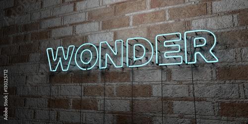 Slika na platnu WONDER - Glowing Neon Sign on stonework wall - 3D rendered royalty free stock illustration